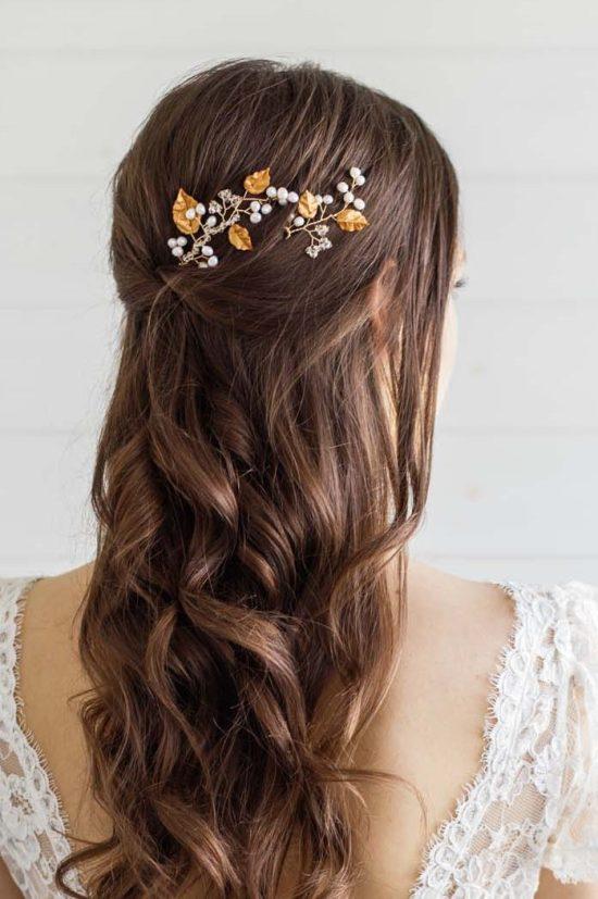 Gold Leaf Wedding Hair Pins