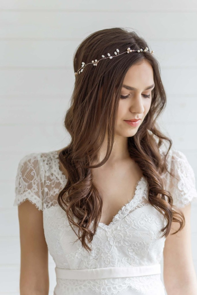 Larkspur Pearl Wedding Hair Vine