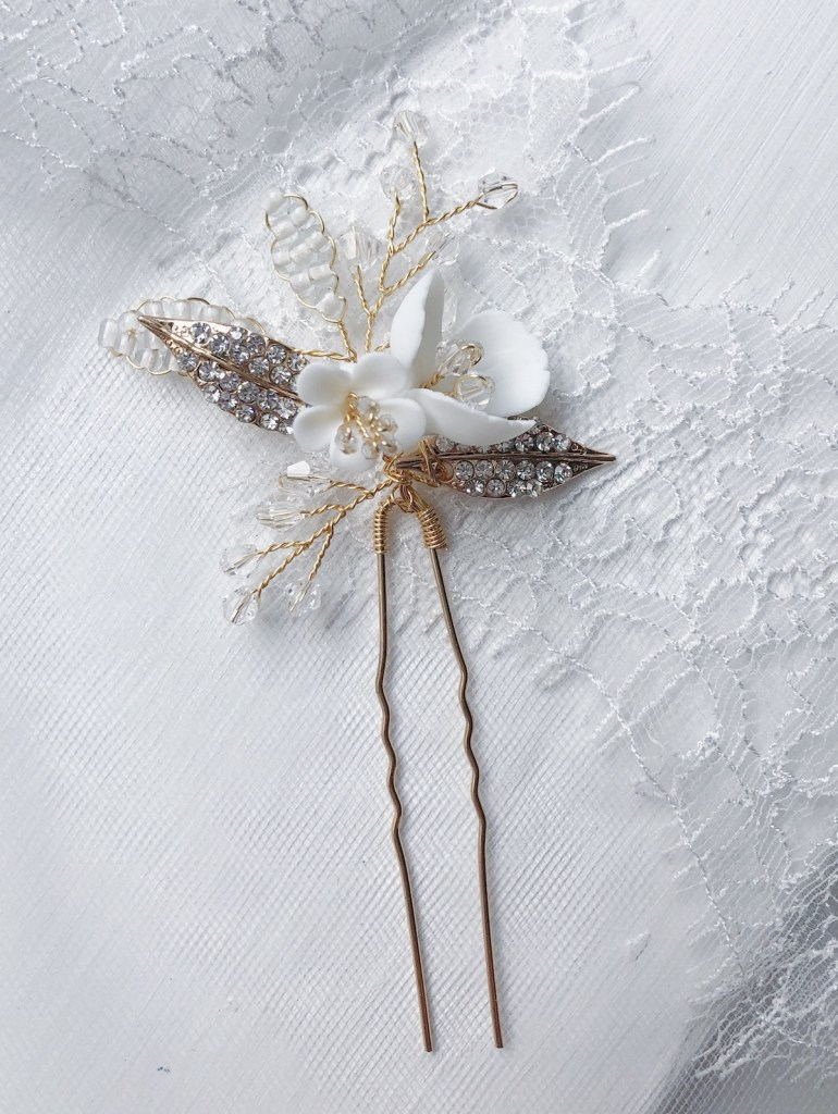 Lotte Clay Flower Bridal Hair Pin Small