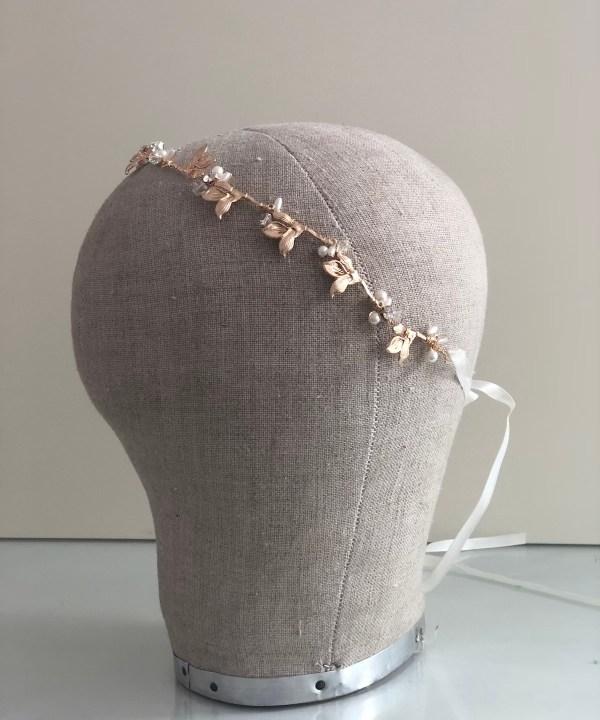 Lucinda delicate gold wedding hair vine