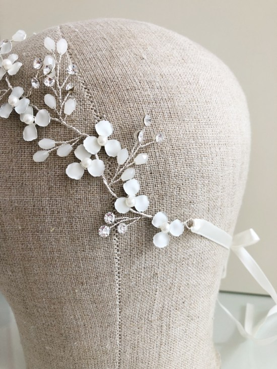 Lorinda Ivory and Silver Wedding Hair Vine