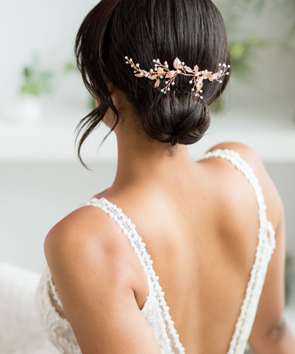 Esther Statement Gold Wedding Hair Vine