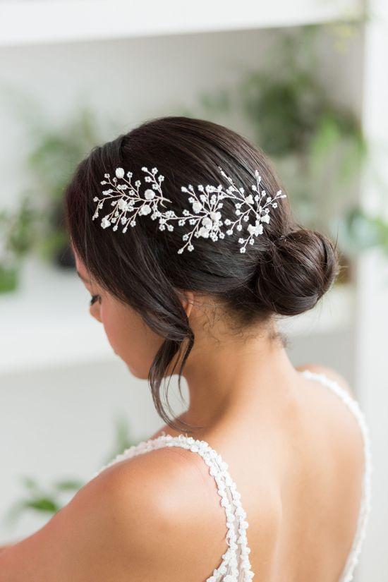 Dawne Silver Wedding Hair Pin