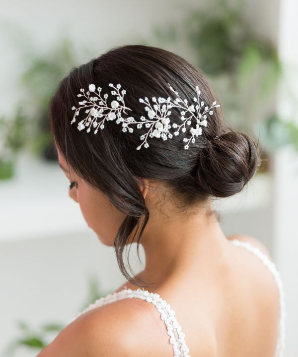Dawne Silver Wedding Hair Pin