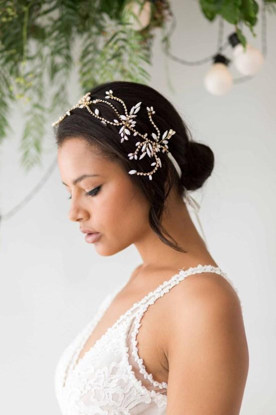 Zoe statement wedding headpiece gold and rhinestone