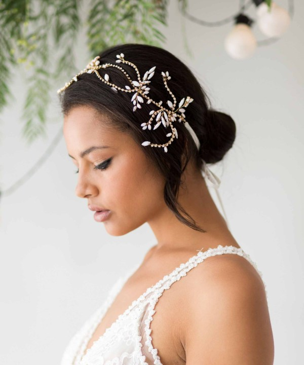 Zoe statement wedding headpiece gold and rhinestone