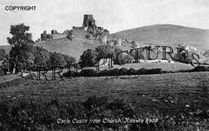 Corfe Castle, from Church Knowle Road c1910