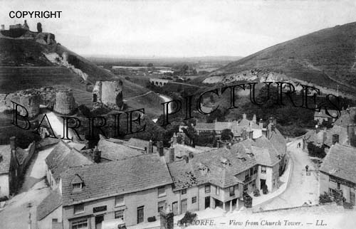 Corfe Castle, from the Church Tower c1905