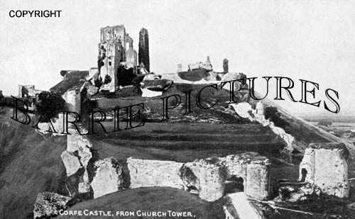 Corfe Castle, from Church Tower c1915