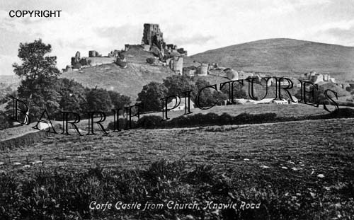 Corfe Castle, from the Church Knowle Road c1900