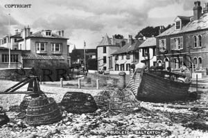 Budleigh Salterton, Millais House and Raleigh's Wall c1945
