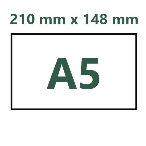 A5. 210 mm x 148mm