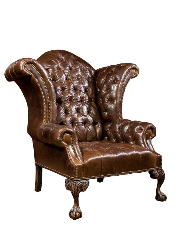 Classic Leather Wingback Chair  Victorian Brown Leather