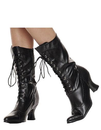 Countess Boots Black Leather Granny Boots