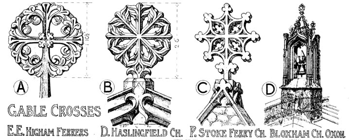 English Gothic Ornament — Gable Crosses, drawn by Banister
