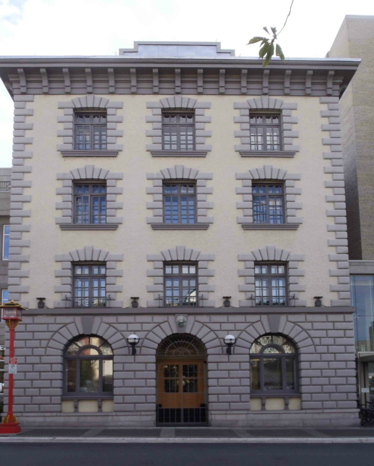 The facade of the former Victoria Police Headquarters building, formerly at 625 Fisgard Street