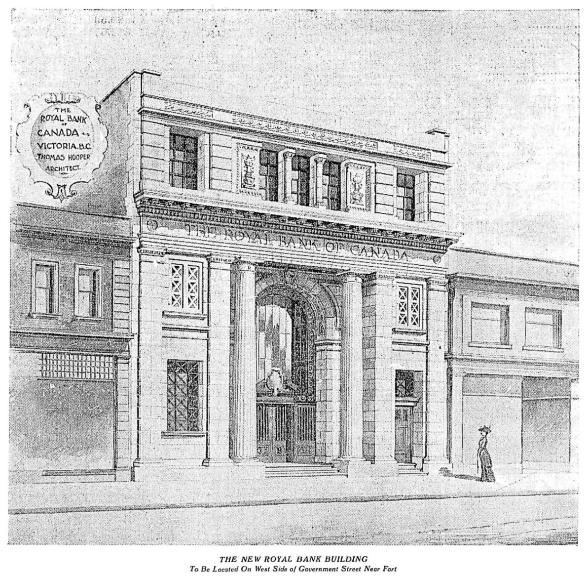 1909 promotional drawing of 1108 Government Street released by the Royal Bank of Canada and architect Thomas Hooper