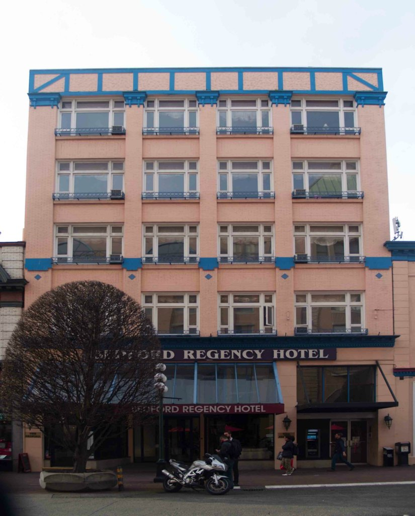 The Bedford Regency Hotel, 1140 Government Street, is in a building that was originally built by architect Thomas Hooper in 1912 for Hibben-Bone Stationers (photo by Victoria Online Sightseeing)