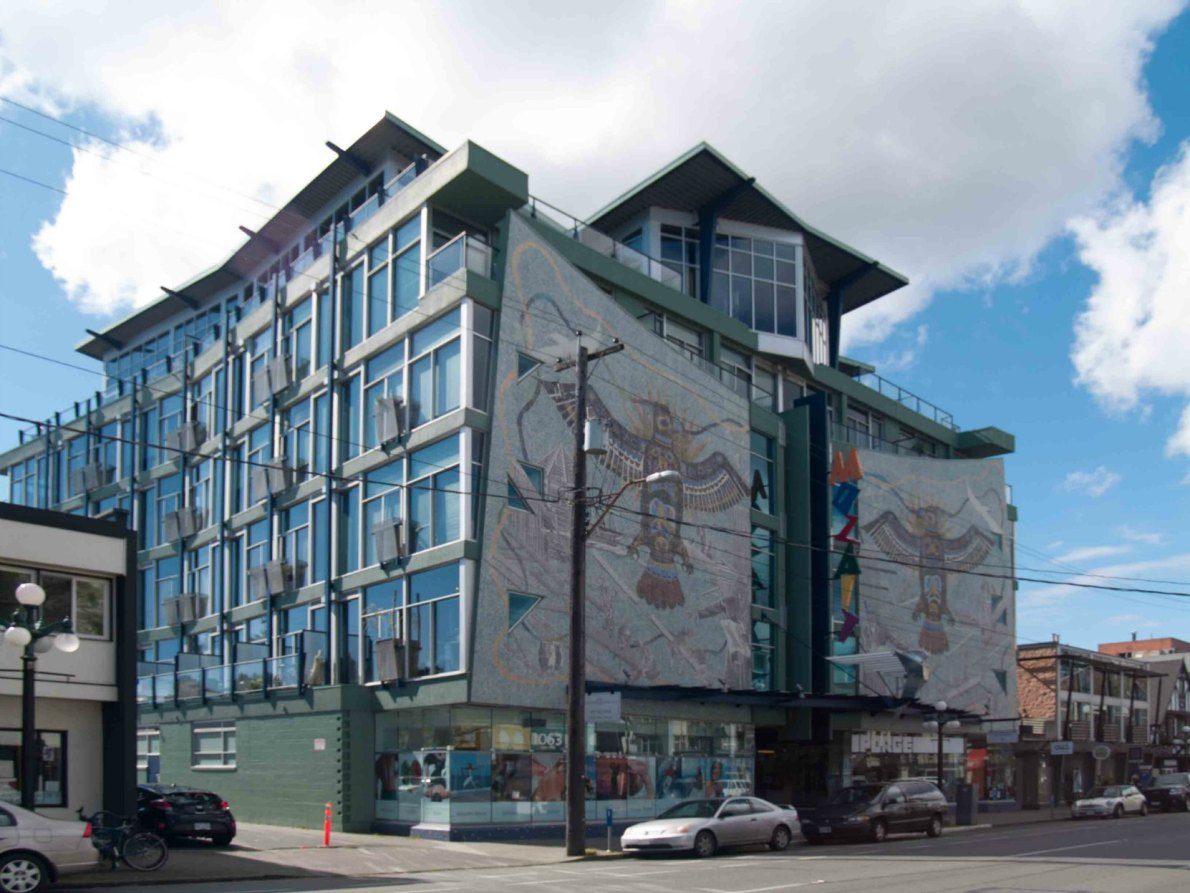 Mosaic Building, 1061 Fort Street, designed and built by architect John Di Castri in 1963 (photo by Victoria Online Sightseeing Tours)