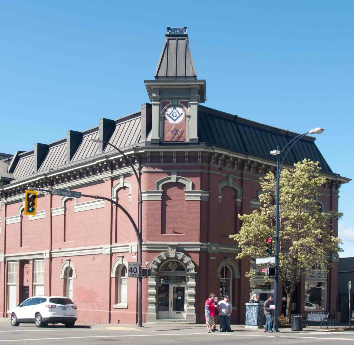 This section of the Victoria Masonic Temple, 650 Fisgard Street, was the original 1878 building, prior to the 1909 addition at the west end of the building.