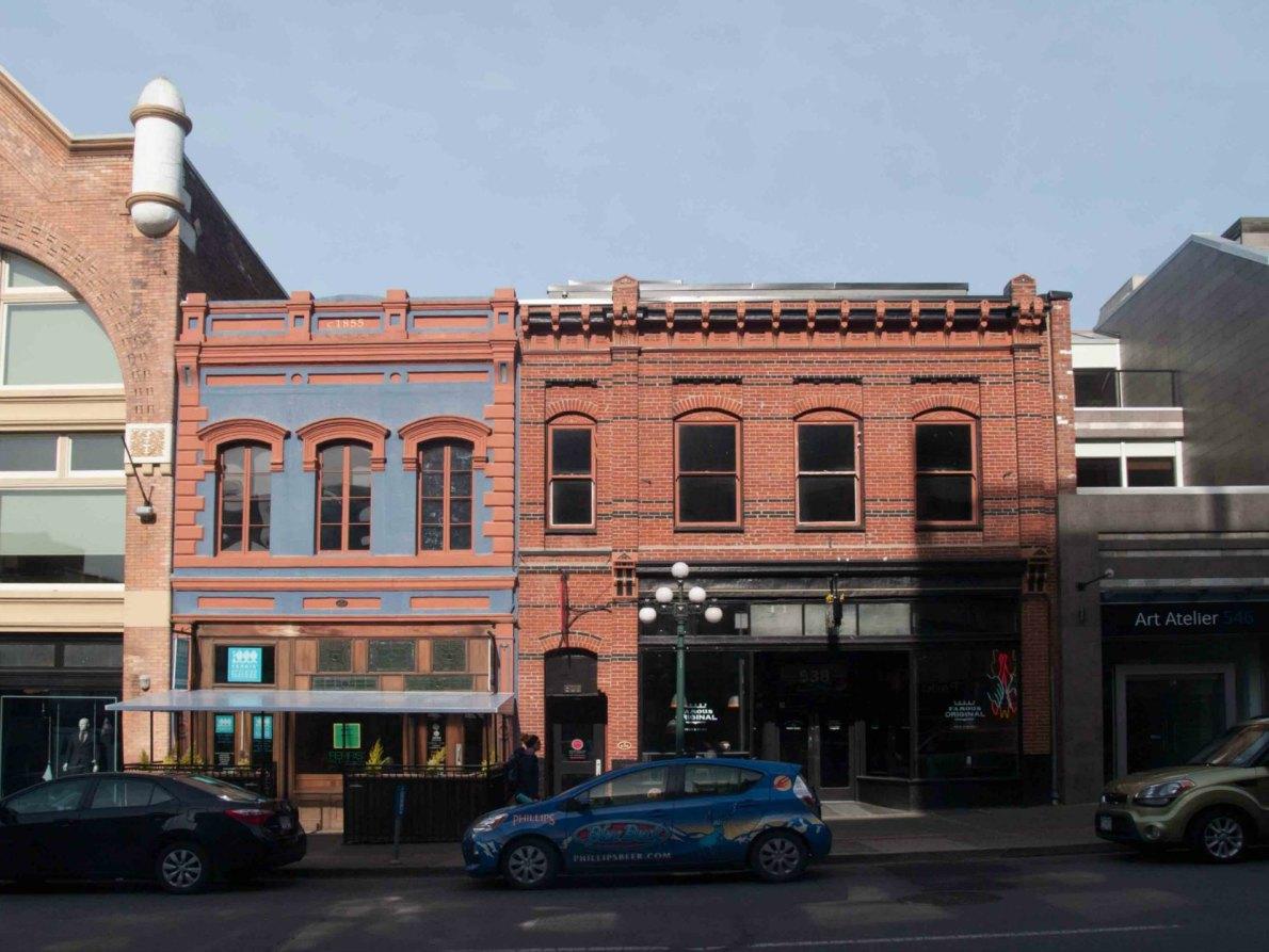 536 Yates Street, built circa 1860, and 538 Yates Street, built in 1888.