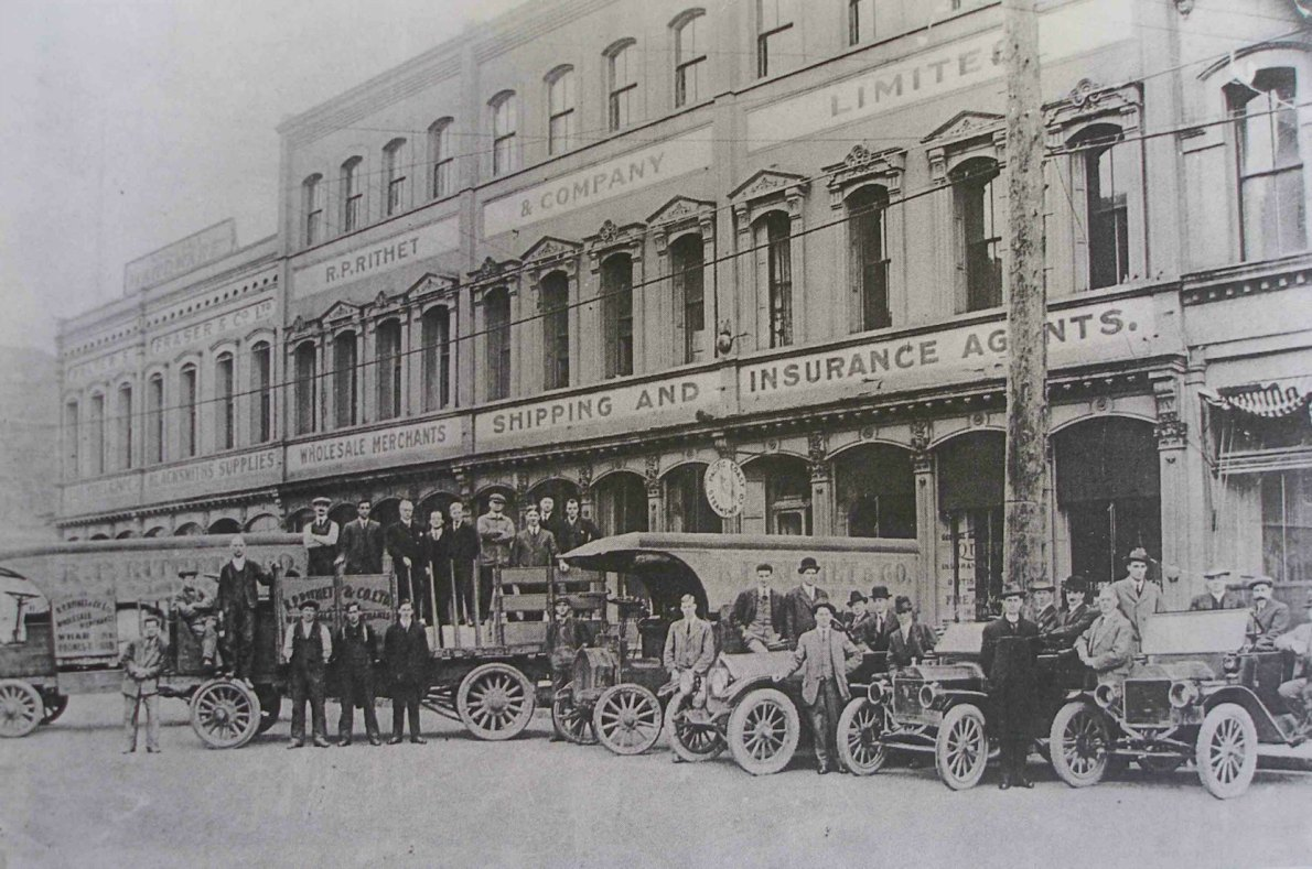 The Rithet Building, 1117-1125 Wharf Street and 1129 Wharf Street circa 1912. In this photo 1117-1129 Wharf Street is occupied by R.P. Rithet & Co. and 1129 Wharf Street is occupied by Walter Fraser & Co., a hardware dealer.