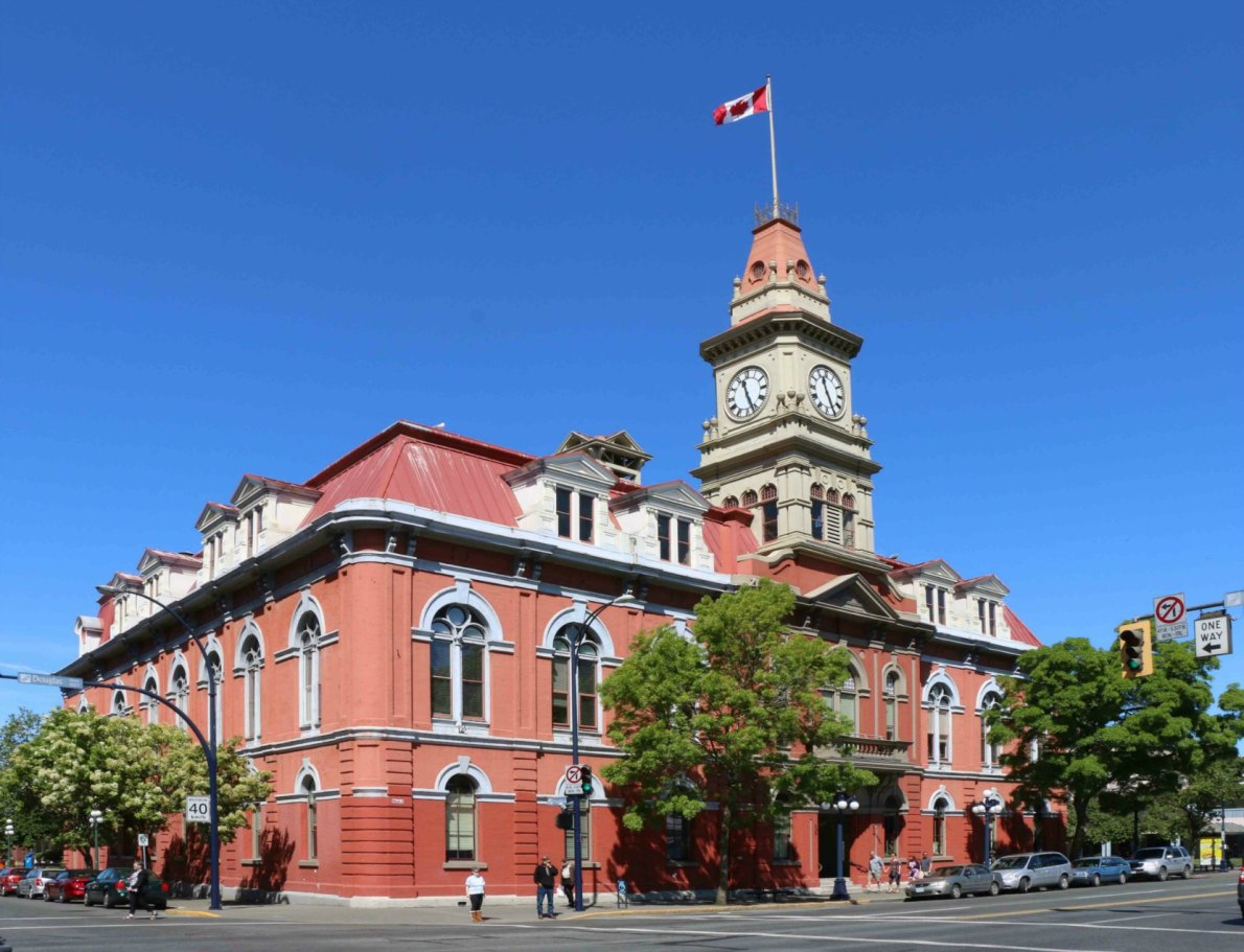 Victoria City Hall, designed by architect John Teague. The original section of the building dates from 1878. The majority of the present building was added during subsequent additons in 1881 and 1890-91.