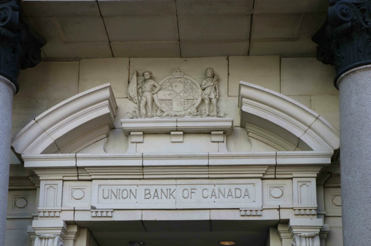 The Union Bank of Canada no longer exists but its sign and corporate coat of arms is still in place on 1205 Government Street