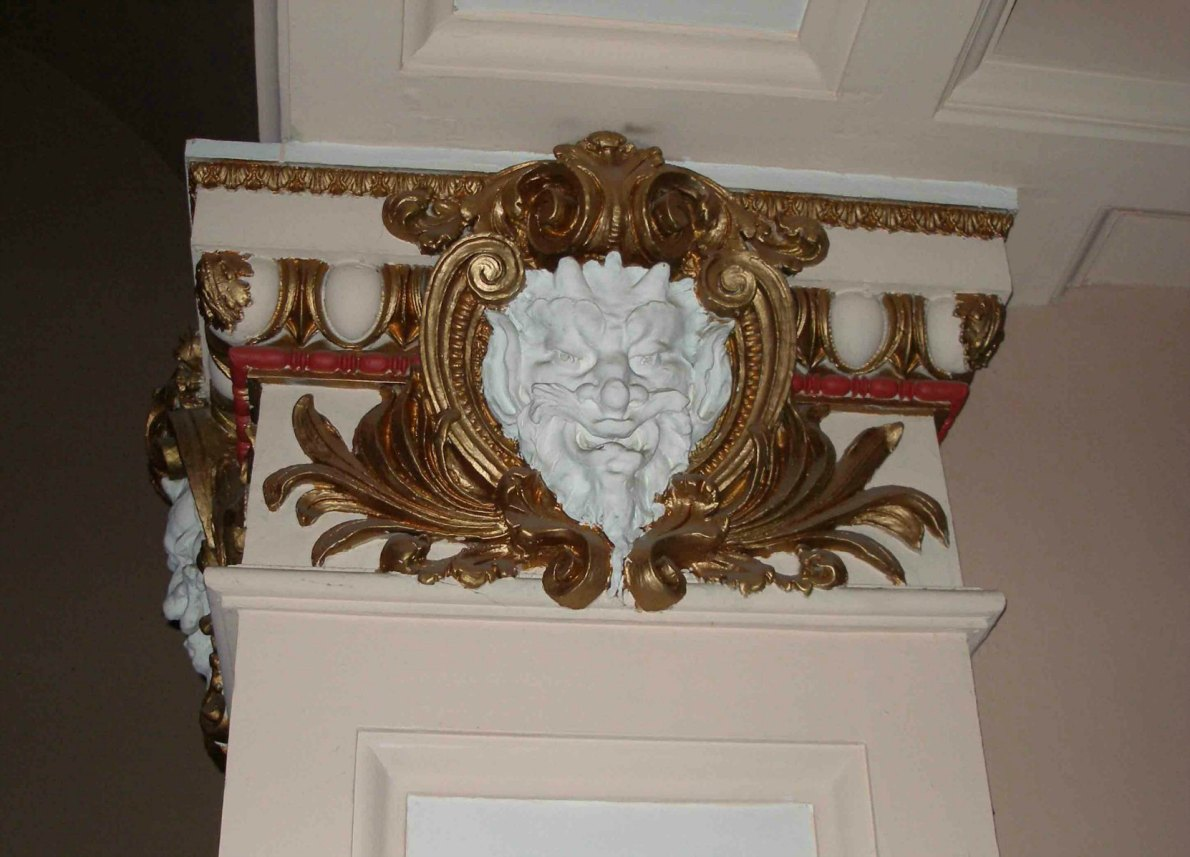 This Satyr's face is an original interior detail the McPherson Playhouse, 3 Centennial Square. This theate was built in 1914 by architect Jesse M.Warren and much of its original interior detail is still intact.