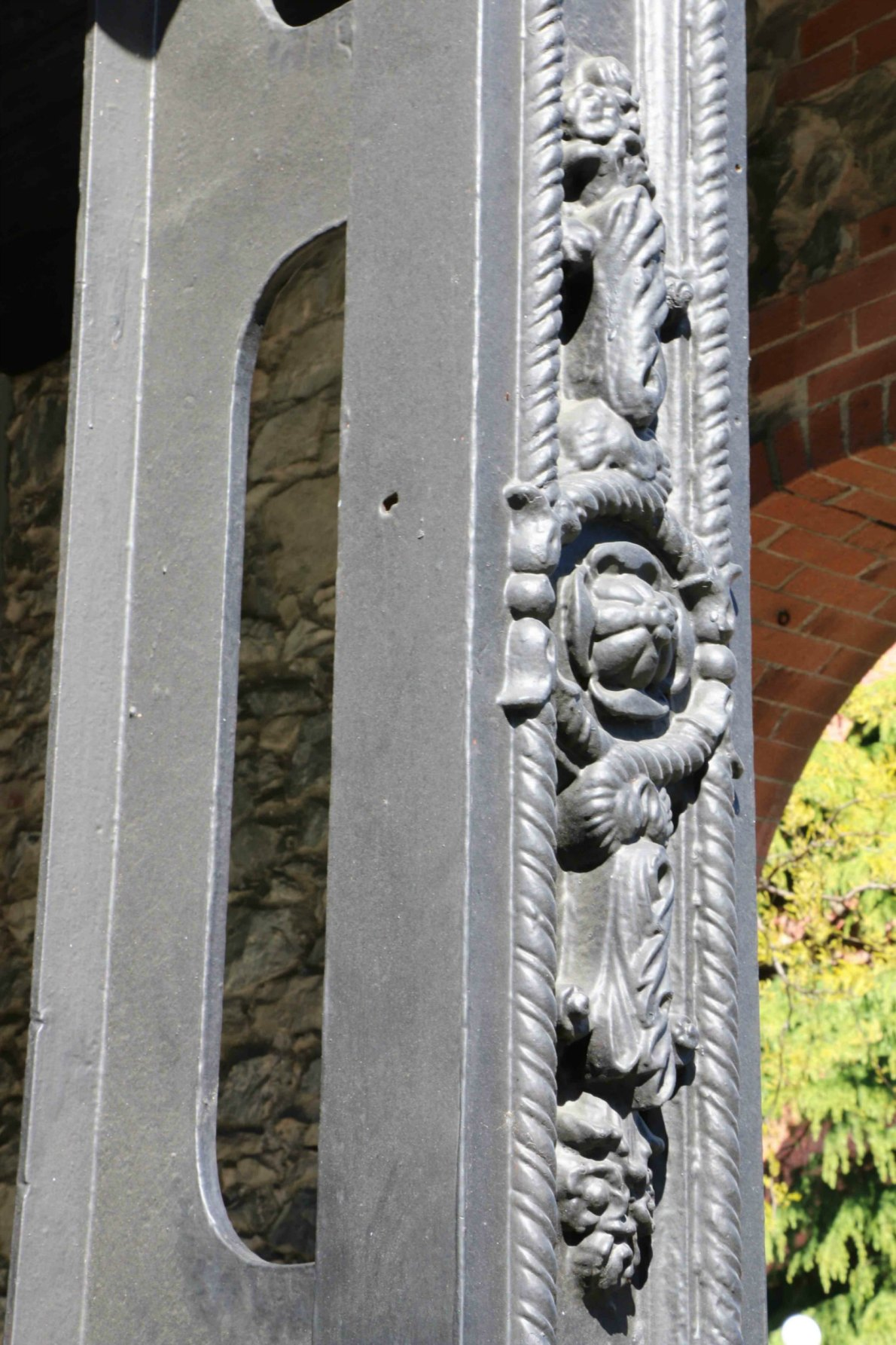 Original iron support column on 1218 Wharf Street. The building was built circa 1860 and is one of the oldest buildings in Victoria.