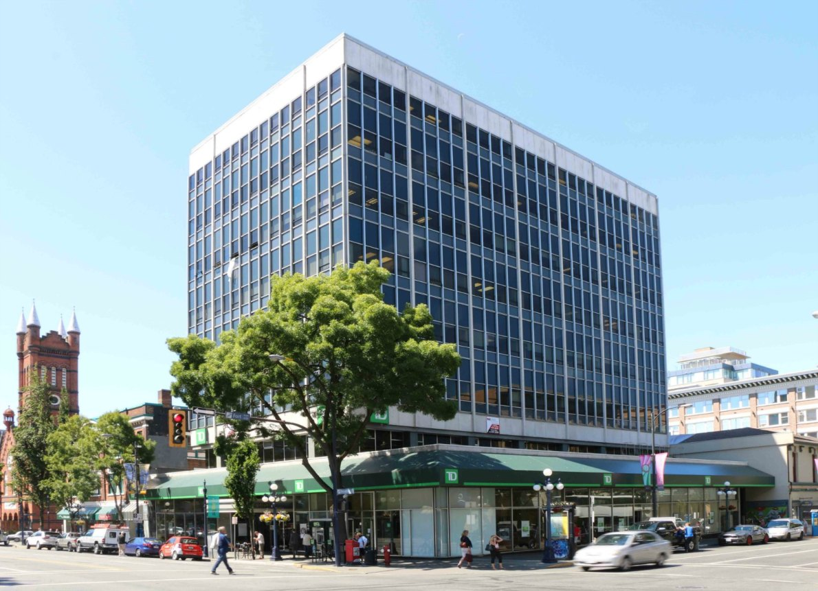 The Bentall Building, 1060 Douglas Street, built in 1963-1964. Listed in the Canadian Register of Historic Places.