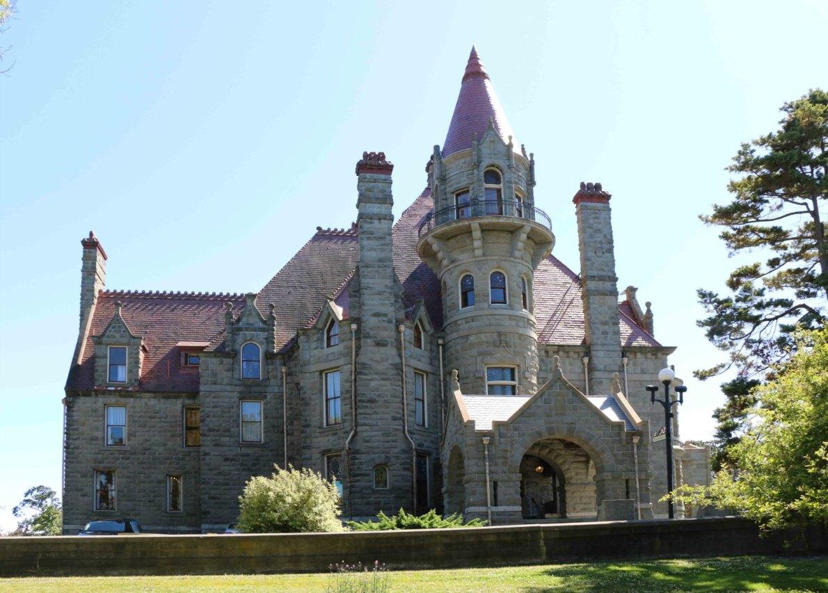 Craigdarroch Castle, north facade and tour entrance.