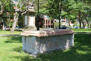 The graves of Thomas Pritchard and Thomas Carter in Pioneer Square. (photo by Victoria Online Sightseeing Tours)