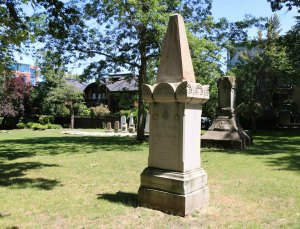 The grave of Paul Medana in Pioneer Square. (photo by Victoria Online Sightseeing Tours)