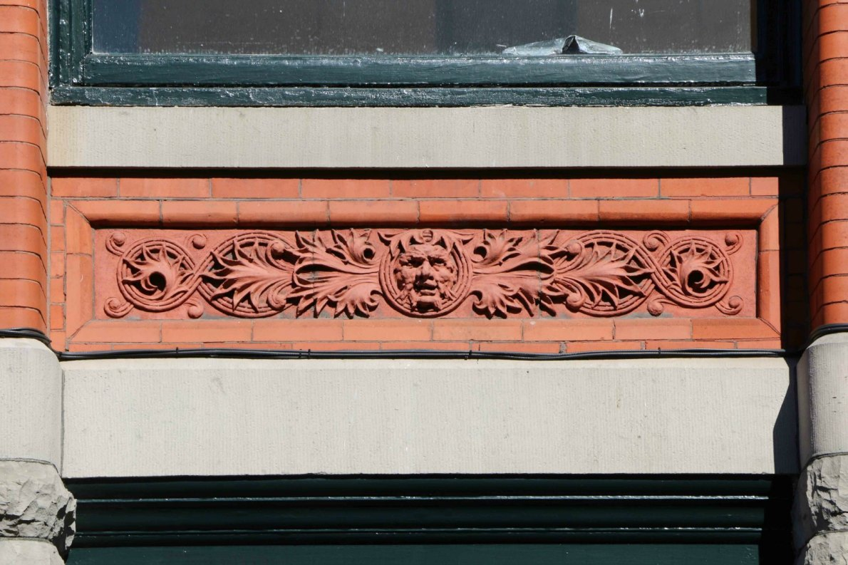 Architectural detail on the Temple Building, 525 Fort Street (photo by Victoria Online Sightseeing Tours)