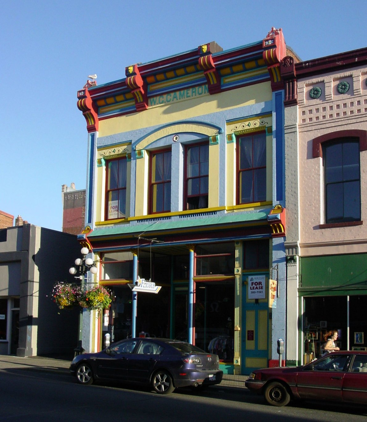 579-581 Johnson Street, built in 1888 for W.G. Cameron by architects Elmer Fisher and William Ridgway Wilson (photo by Victoria Online Sightseeing Tours Inc)