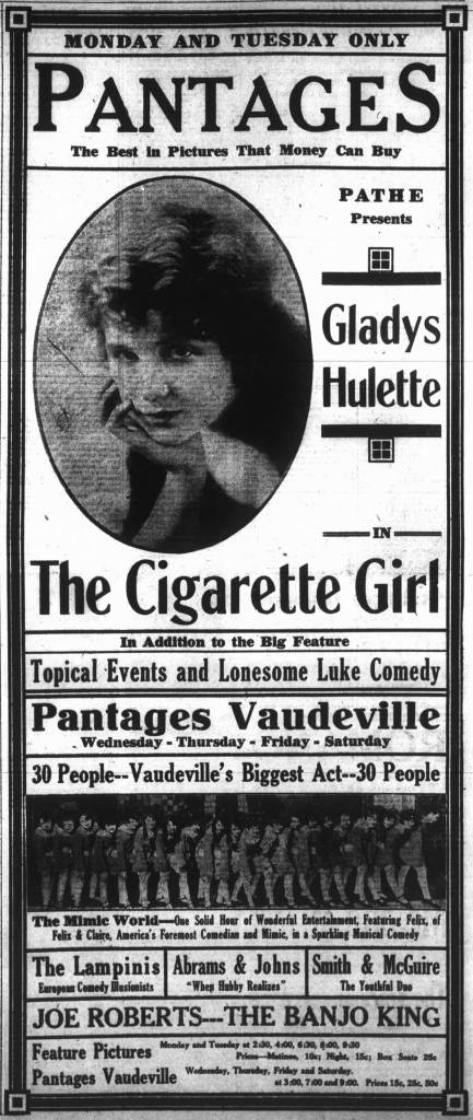 Advertisement for the Pantages Theater movie and vaudeville features, August 1917 (Victoria Online Sightseeing)