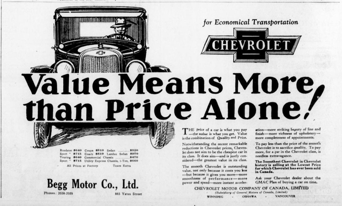 1926 advertisement for Chevrolet automobiles, placed by Begg Motor Company, 865 Yates Street. This advertisement was placed in the fall of 1926, after Begg Motor Co. opened its new building at 865 Yates Street (now 1250 Quadra Street). (Victoria Online Sightseeing Tours collection)