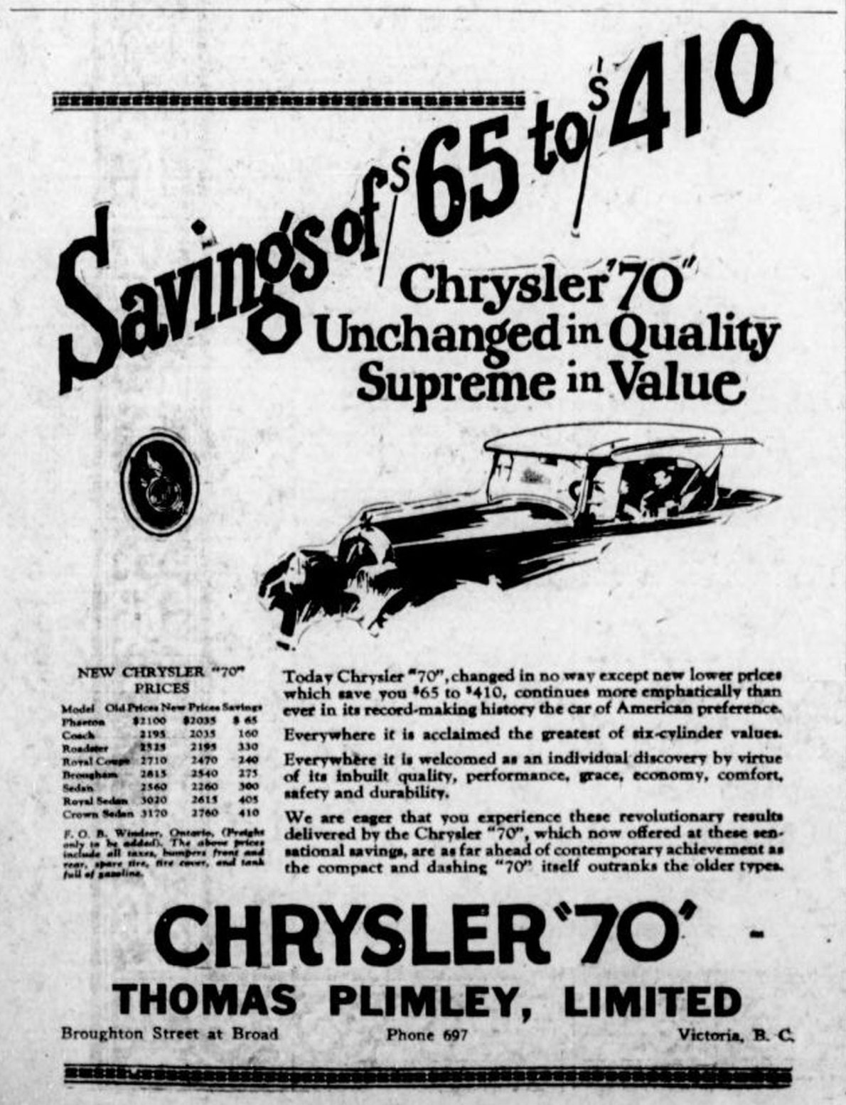 "1926 advertisement for Chrysler ""70"" automobiles, placed by Thomas Plimley Ltd., Broughton Street at Broad Street, (Victoria Online Sightseeing Tours collection)"