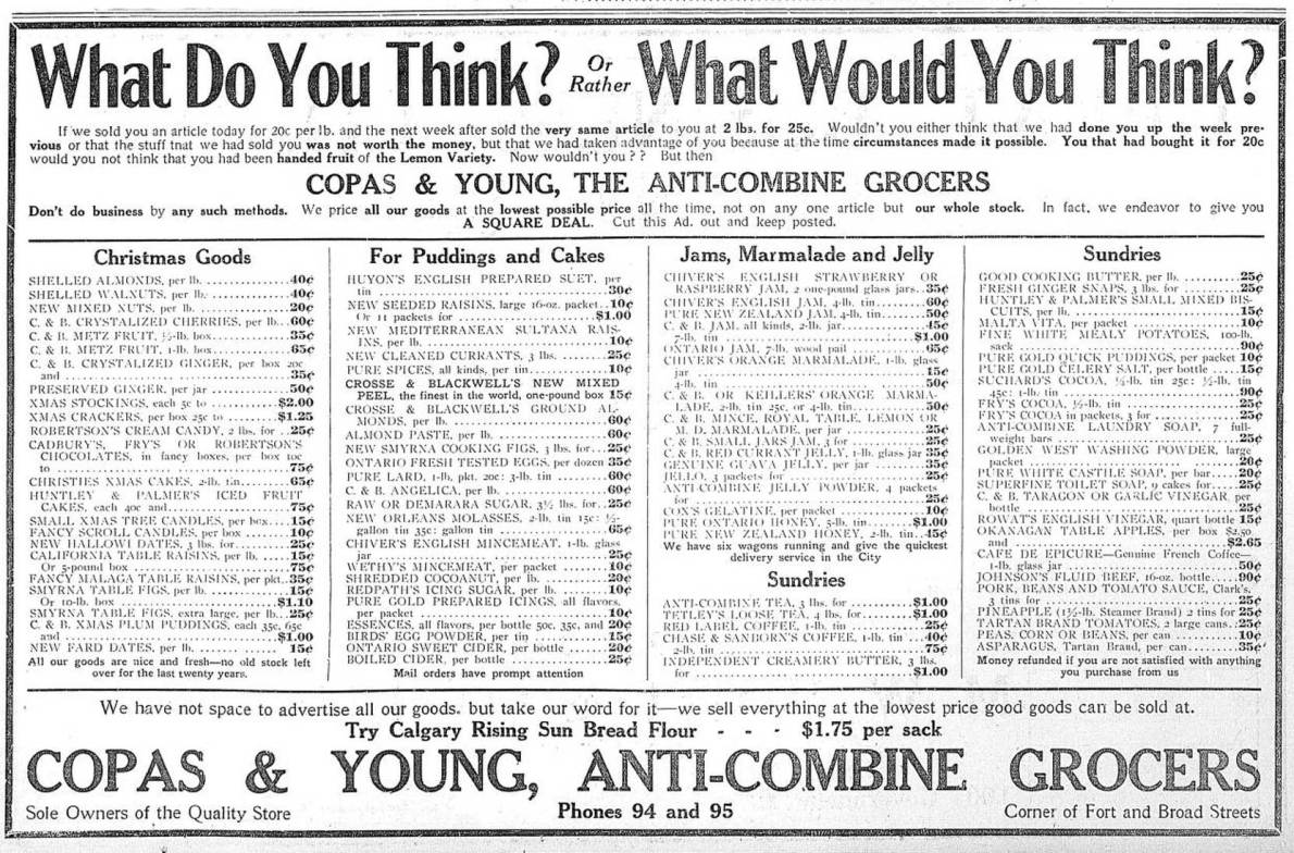 1909 advertisement for Copas & Young, Anti-Combine Grocers, in the Fell Building, Fort Street at Broad Street. (Victoria Online Sightseeing Tours collection)