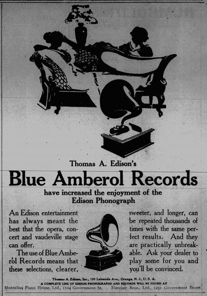 1913 advertisement for Edison Blue Amberol Records, sold at 1104 Government Street and 1231 Government Street. (Victoria Online Sightseeing Tours collection)