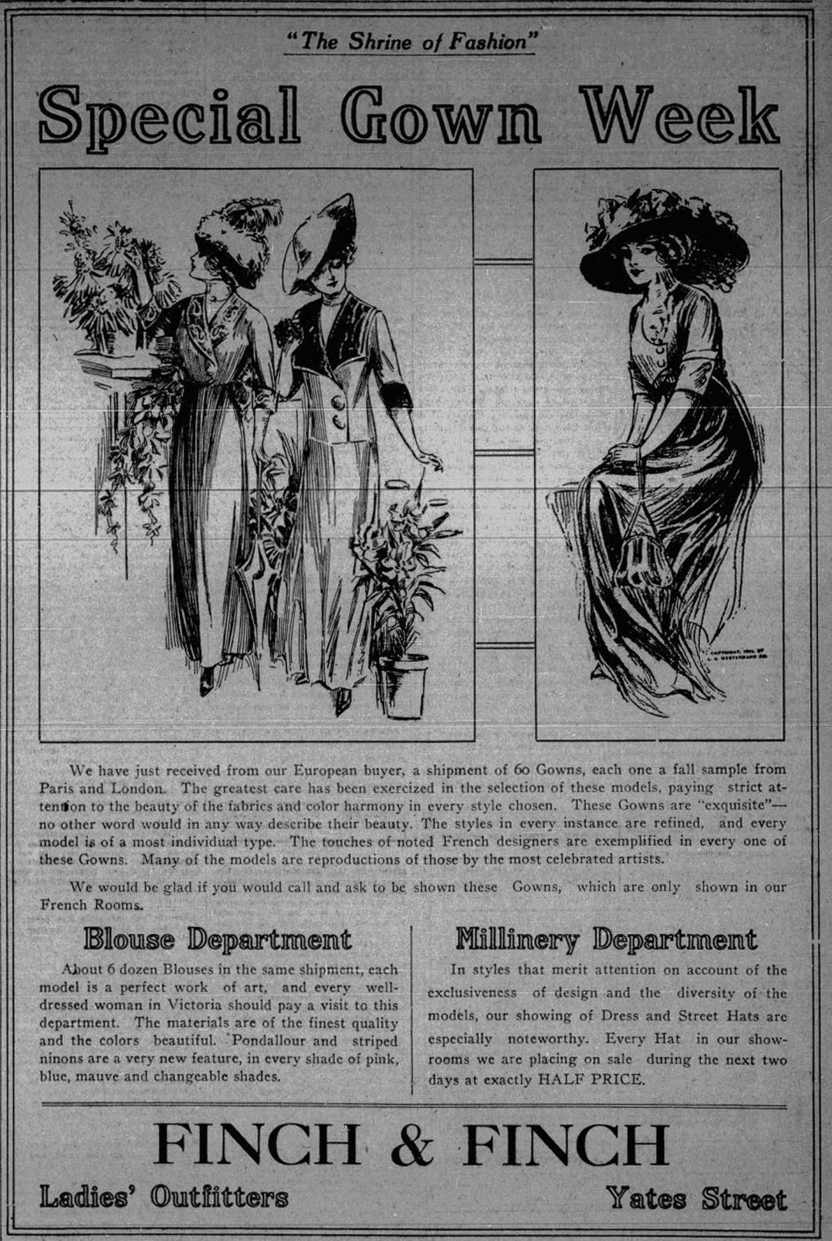 1912 advertisement for Finch & Finch, 719 Yates Street (Victoria Online Sightseeing Tours collection)