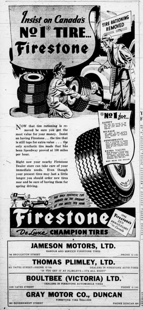 "1946 Victoria advertisement for Firestone Tires. Note the ""Tire Rationing Removed"" in the upper right corner. Tires had been rationed during World War II (1939-1945)"