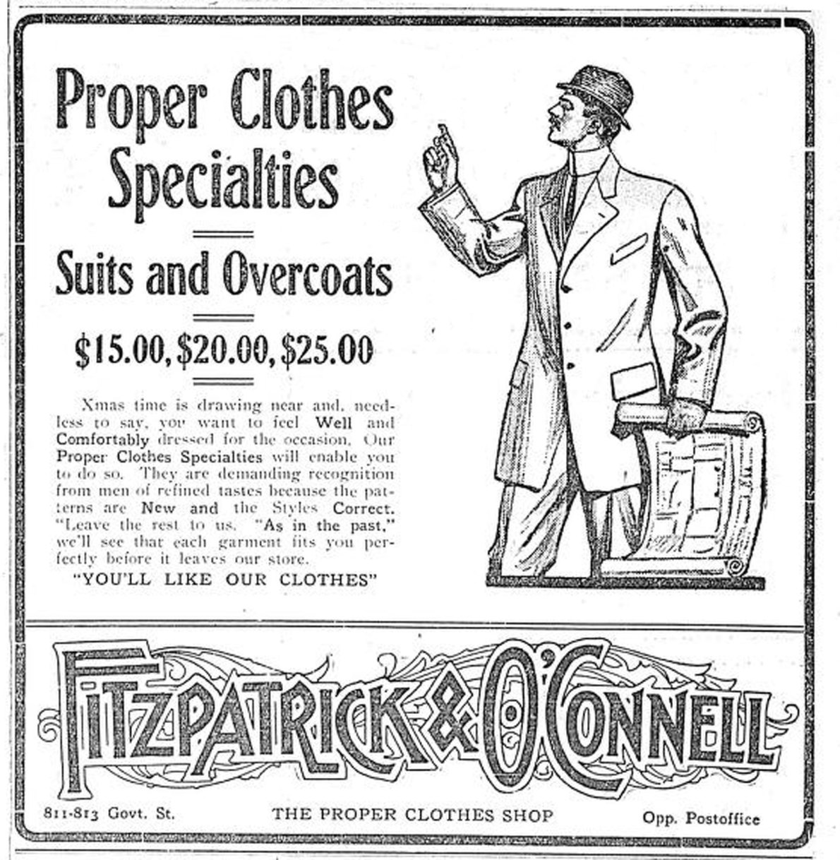 1909 advertisement for Fitzpatrick & O'Connell, The Proper Clothes Shop, 811-813 Government Street. The building in which this business was located is still standing. (Victoria Online Sightseeing Tours collection)