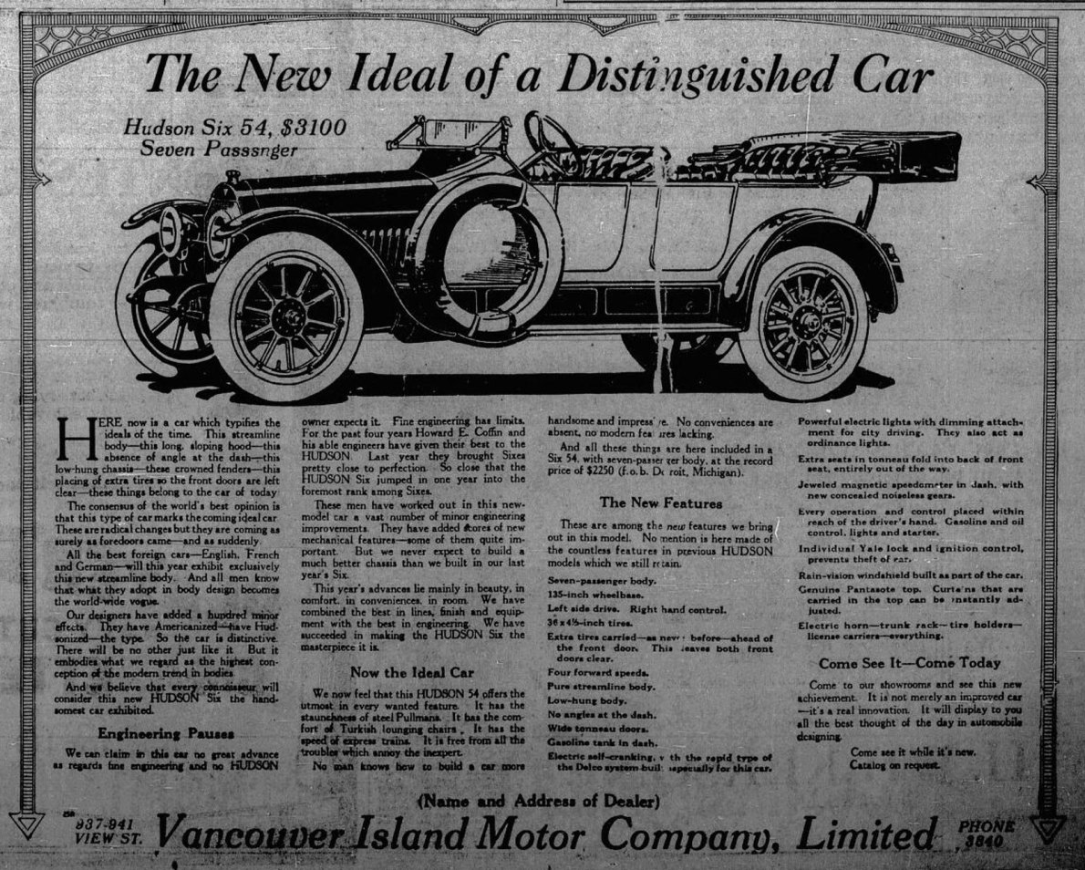 1913 advertisement for Hudson Six and the Vancouver Island Motor Company. (Victoria Online Sightseeing Tours collection)