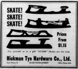 1925 advertisement for Ice Skates at Hickman Tye Hardware Co., 554-558 Yates Street (Victoria Online Sightseeing Tours collection)