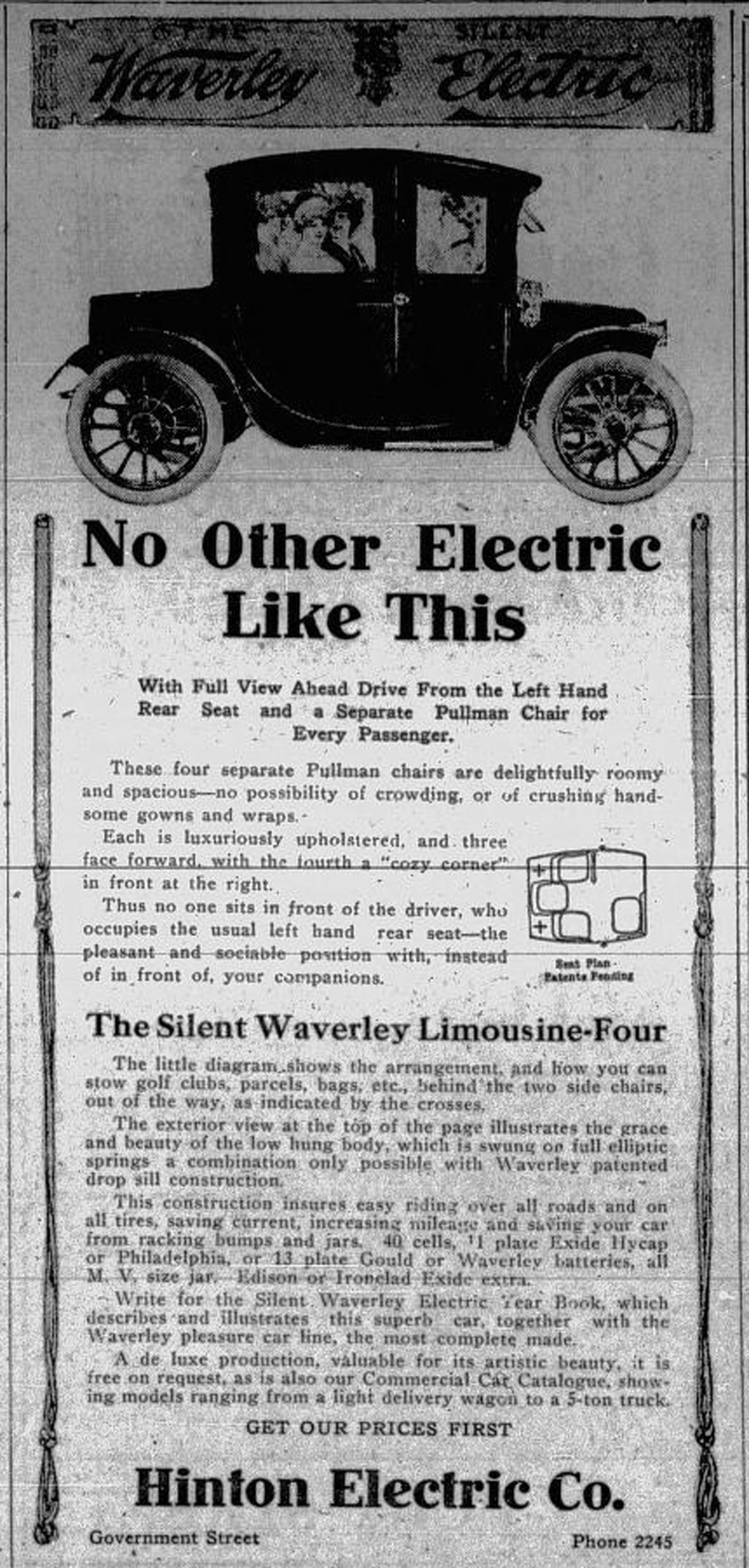 1913 advertisement by Hinton Electric Co., 911 Government Street, for Waverley electric cars (Victoria Online Sightseeing Tours collection)