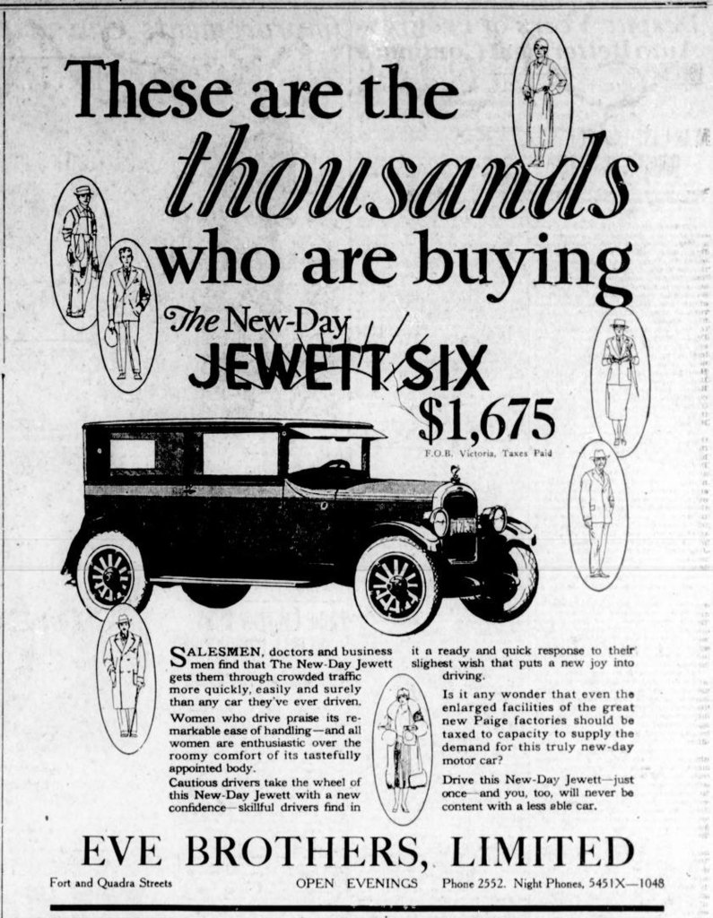 1926 advertisement for Jewett Six automobiles, placed by Eve Brothers Ltd., 900 Fort Street. (Victoria Online Sightseeing Tours collection)