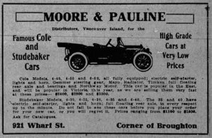1913 advertisement for Moore & Pauline, distributors for Cole and Studebaker, 921 Wharf Street (Victoria Online Sightseeing Tours collection)
