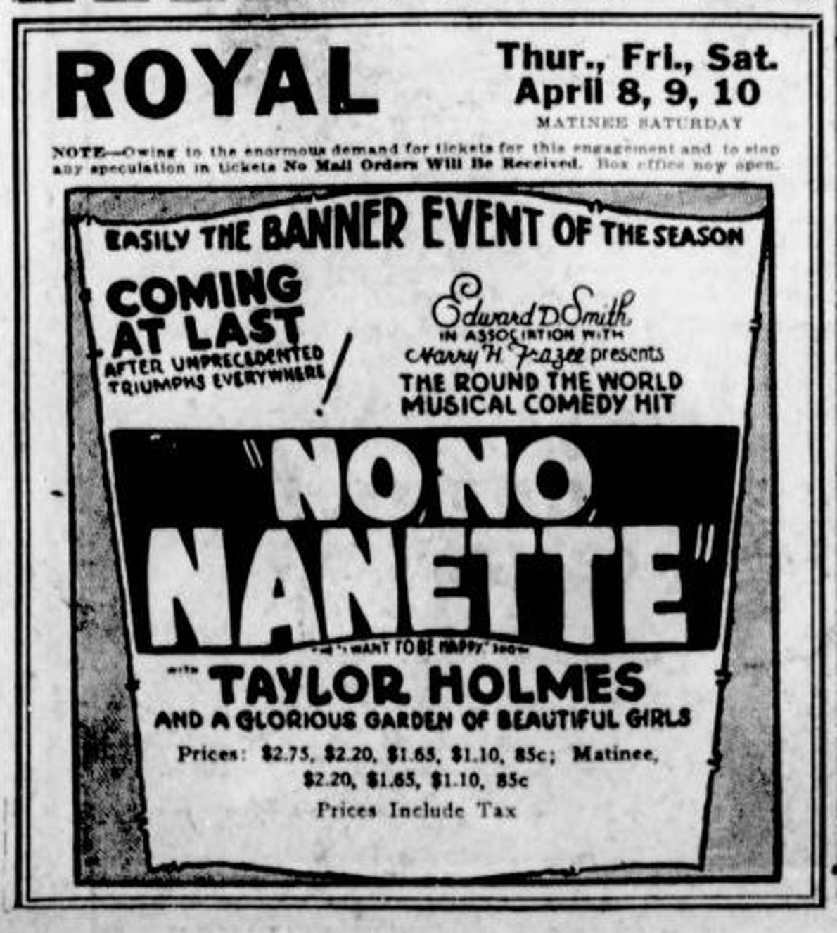 1926 advertisement for the Royal Theatre, 805 Broughton Street for a live production of No No Nanette starring Taylor Holmes. This show debuted in Los Angeles on 9 March 1925 and travelled for one year before reaching Broadway in New York City. (Victoria Online Sightseeing Tours collection)
